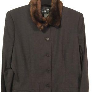Ralph Lauren Gray Jacket/Blazer with Fur Collar